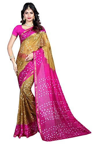 Shree Sondarya Bandhani Green and Pink Tussar Silk Bandhani Saree With Blouse...