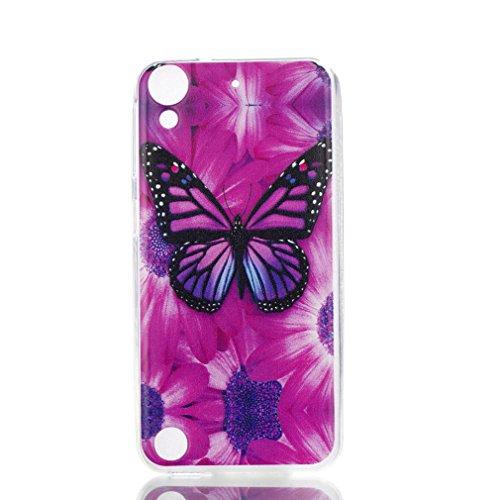 LMAZWUFULM Hülle für HTC Desire 650 / 626G / 628 (5,0 Zoll) Weiche TPU Schutzhülle Silikon Handyhülle Blumen Schmetterlinge Muster Flexible Rückschale Cover für HTC Desire 650 / 626G / 628