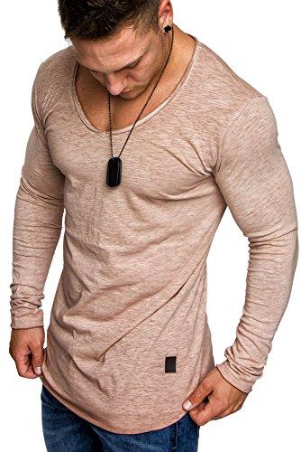 V-neck Vintage Pullover (Amaci&Sons Oversize Herren Vintage Longsleeve Verwaschen V-Neck Sweatshirt Basic V-Ausschnitt Shirt 6071 Beige M)