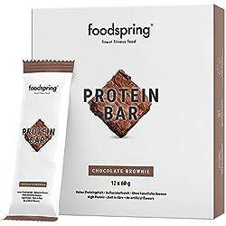foodspring Protein Bar en paquet de 12, Chocolate Brownie, Une nouvelle recette, pour plus de saveurs,Fabriqué en Allemagne