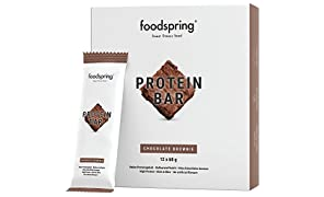 foodspring - Barrette proteiche -gusto Cioccolato Brownie - 33% di proteine - Senza zuccheri aggiunti - Perfette post workout o come snack da viaggio (12 x 60g)