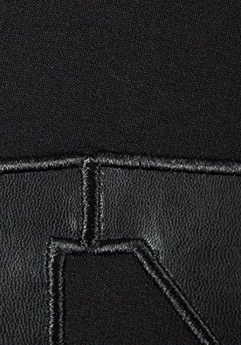 Mesdames Sweat à capuche col ras du cou NYC T-Shirt à Manches Longues pour Femme Casual Top Noir - Noir
