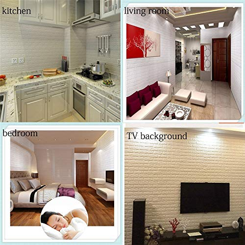 Lukzer Waterproof Self-Adhesive Foam 3D Brick Decorative Wall Sticker for Home Living Room Bedroom (70 x 77 cm, White)