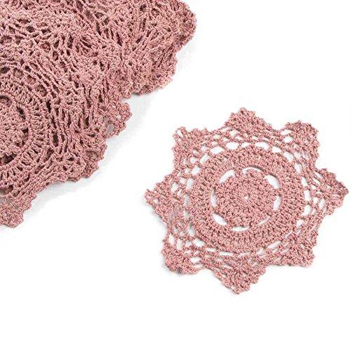 15,2cm Rose Pink rund Baumwolle Hand gehäkelt Spitze Deckchen, Set von 12
