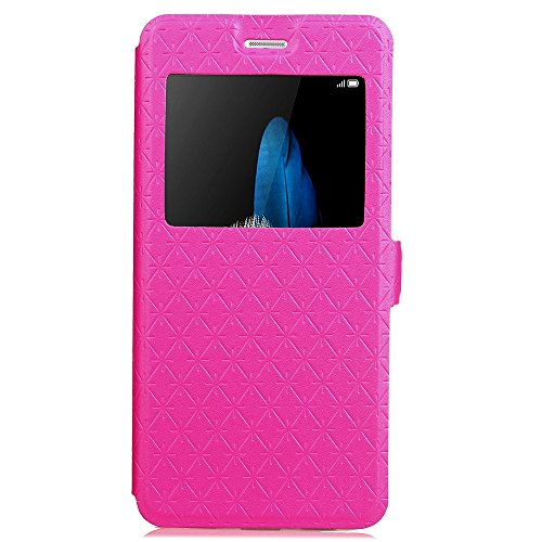 Für Huawei P8 Lite Case Cover Horizontale Flip Stand Case mit transparenten Fenster & Card Slots & Magnetic Closure ( Color : Gold ) Rose