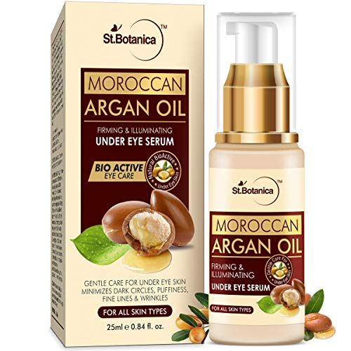 StBotanica Moroccan Argan Oil Firming & Illuminating Under Eye Serum, 25ml - For Dark Circles, Puffiness, Wrinkles