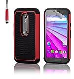32nd® Funda rígida de Alta Protección para Motorola Moto G 3 (3. Generacion, 2015), incluye protector de pantalla, paño de limpieza y lápiz optico - Rojo