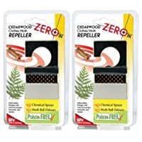 2 X NEW ZERO IN CEDARWOOD CLOTHES MOTH REPELLER ADJUSTABLE HANGER ZER439 NO CHEMICAL SPRAYS NO MOTH BALL PACK SET OF 2