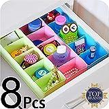 Angel Bear Socks Undergarments Storage Drawer Organiser Set of 8, (Colour May Vary)