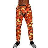 HET Herren Mode Lässige Hosen Jogger Dance Camouflage Regular-Fit Jogger Cargo Designer Sportwear Baggy Harem Hosen Hosen Jogginghose Jogging/Fitness / Workout (L, Orange)