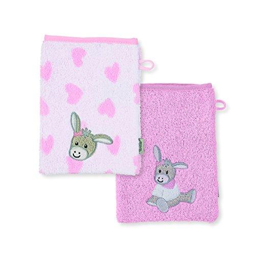 Sterntaler Doppelpack Waschhandschuh Emmi Girl, Größe: 21 x 15 cm, Rosa