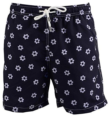 Red Point Beachwear, Homme, Short de bain, Nil, Imprimé fleurs Bleu Marine