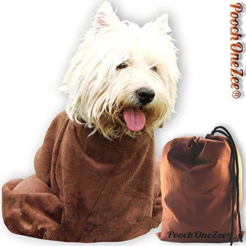 PoochOneZee® Séchage rapide sac de chien - l'eau , la boue et la saleté de Super Absorbent Solution microfibres avec épais Velcro Collier Brown Petit