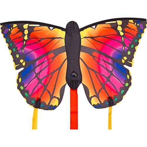 """HQ 100302 - Butterfly Kite Ruby \""""R\"""" Kinderdrachen Einleiner, ab 5 Jahren, 34x52cm und 2x300cm Drachenschwanz, inkl. 10kp Polyesterschnur 25m auf Griff, 2-4 Beaufort"""