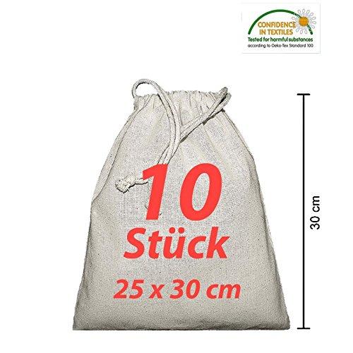 Stoffbeutel Kleidersacke Wäschesack Zuziehbeutel mit Kordelzug natur 25x30cm 10 Stück