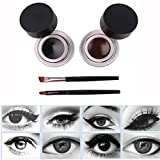 Yogogo 2pcs wasserdicht Doppelte Farbe Eyeliner Gel Set Mit Eyeliner und Augenbrauenpinsel