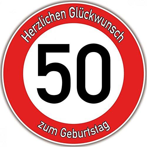 Tortenaufleger Fototorte Tortenbild Warnschild 50. Geburtstag rund 14 cm GB08
