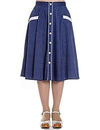 8e336af3aa Falda Vintage de Hell Bunny Azul Marino Martie con Lunares en estilo 50s
