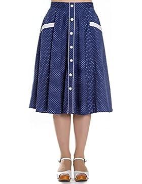 Falda Vintage de Hell Bunny Azul Marino Martie con Lunares en estilo 50s