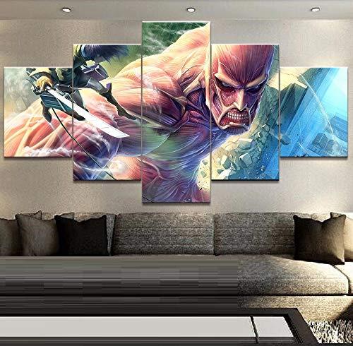 HOMOPK 5 Stücke Malerei Modulare Tapete HD Druck Auf Leinwand Wandkunst Wasserdicht Poster Bad Wohnzimmer Wohnkultur Bild Titan Anime angreifen A,Rahmen
