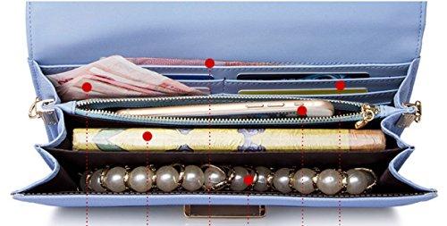 Frauen-echtes Leder-Beutel Kleine / Mikro-Kreuz-Körper-Schulter-Beutel-Handtaschen-Kupplungskette (7 Farben) Darkblue