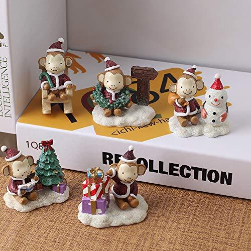 TONGTONG Miniatur-Garten Weihnachtsschmuck 5 Stück Cute Christmas Ornament Cute Monkey Dekorationsgeschenk Für Garten Und Home Bonsai Ornament