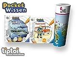 Collectix Ravensburger  tiptoi Buch 4-7 Jahre | Pocket Wissen - Wale und Delfine + Feuerwehr + Kinder Weltkarte | Klein Pocketwissen Tip TOI unterwegs