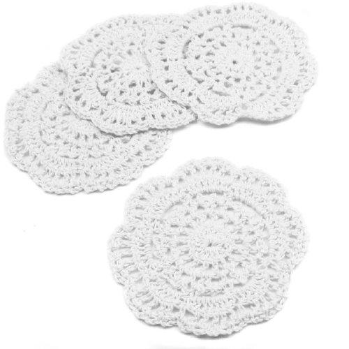 kilofly klein gehäkelter Baumwolle Spitze Untersetzer Deckchen Pack Set, 4, rund, 10,2cm, baumwolle, Weiß, 10,2 cm (Oval Vinyl Spitzen Tischdecke)