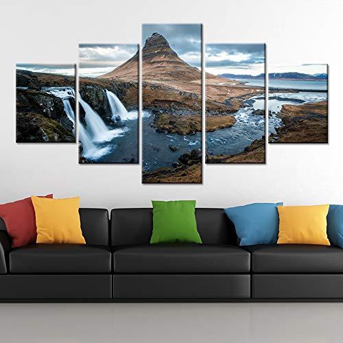 Modern Canvas HD Stampato Wall Art Immagini 5 Pezzi Montagne Gulf Waterfall Paesaggio Naturale Poster Home Decor