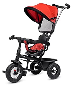 R for Rabbit Tiny Toes Sportz Baby Tricycle for Kids Smart Plug & Play with Canopy,Storage Basket, Parental Control Handle, Rubber Wheels Boys|Girls of 1.5 Years to 5 Years(Red)