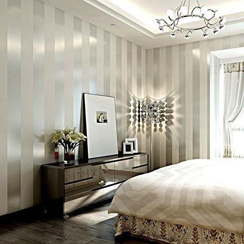 *LXPAGTZ Einfache moderne Vlies-Tapete Schlafzimmer Wohnzimmer schwarzen und weißen vertikalen Streifen blau Östliches Mittelmeer Wand Tapete lange 9.5 m * Breite 0,53 m (5 m ²) , 11083 white silver*