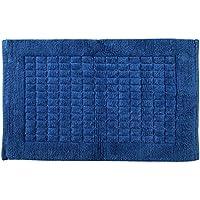 Sevilla - Alfombrilla de baño de 100% algodón, diseño tradicional cuadrado, felpa absorbente de lujo, alfombrilla de baño, 100% algodón, azul, 50 x 80 cm