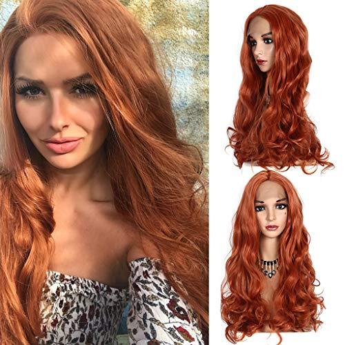 Sexy Beste Geschenke für Frauen !!! Beisoug Lace Front Damenmode Perücke Orange Kunsthaar Lange Perücken Welle Lockige Perücke (72cm)