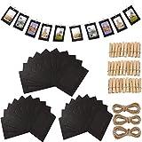 Fashion HW - Set di 30 cornici di Carta per Foto Fai da Te, 10 x 15 cm, con Clip in Legno e Filo da Appendere, in Cartone, per Decorare la casa