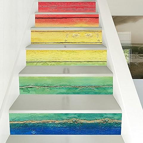 Buluke 18 * 100 cm 6 pcs DIY farbigen 3D wasserdichte Treppe Aufkleber