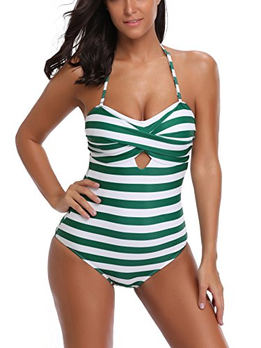 FLYILY Women's One Piece Swimming Costume Low Back Wrap Padded Swimsuit(FBA)