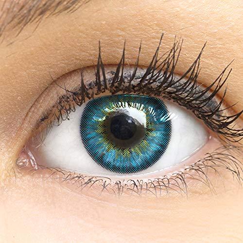 Blaue Farbige Kontaktlinsen Fresh Blue Blau Sehr Stark Deckende SILIKON COMFORT NEUHEIT von GLAMLENS + Behälter - 1 Paar (2 Stück) - DIA 14.50 - ohne Stärke 0.00 Dioptrien -