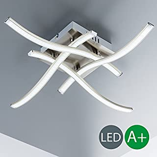 B.K.Licht LED Ceiling Light for Living Room I Bedroom & Dining Room I Warm White I Modern and elegant curved Design I Eyecatcher I matte nickel Look I 4 x 3,4 W LEDs I 230 V I IP20