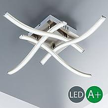 Lámpara de techo moderna I Lámpara de techo LED con 4 barras de LED I Diseño moderno de barras curvadas I Dormitorio I 230 V I IP20 I 4 x 3,4 W