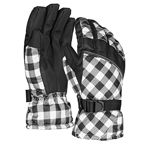 Terra Hiker Damen Wasserdichte Skihandschuhe Winter Handschuhe für Radfahren (Weiß Kariert, L)