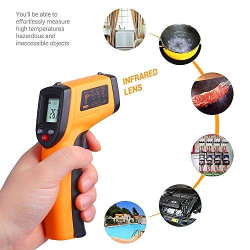 Preisvergleich Produktbild Pro-sonic® Laser Infrarot Thermometer / Pyrometer (-50 bis +420°C, LCD Beleuchtung) gelb/, Lasergrip