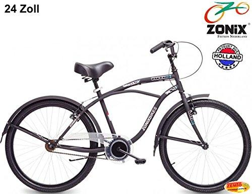 Jungen Hollandrad 24 Zoll Zonix Beach-Cruiser schwarz