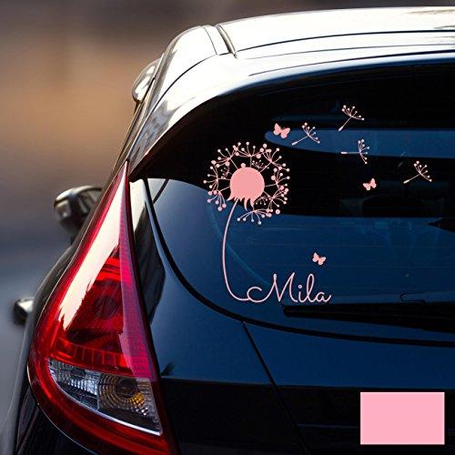 ilka parey wandtattoo-welt® Autotattoo Heckscheibenaufkleber Fahrzeug Aufkleber Sticker Baby Name Pusteblume M1864 - ausgewählte Farbe: *rosa* ausgewählte Größe: *M - 28cm breit x 25cm hoch* - Aufkleber Welt
