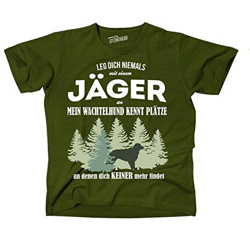 Siviwonder Unisex T-Shirt JÄGER WACHTELHUND DEUTSCHER Hund kennt Plätze niemand findet olive XXL