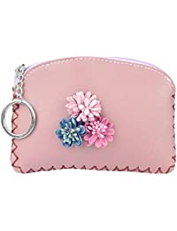 STRIPESSoft Pu Leather Flower With Tassel, Small Leather Coin Purse Wallet With Zip, Card,Coin,Key Holder With...