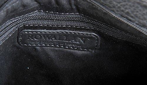 ROWALLAN Nere O Navy Medium Leather Da Spalla Tracolla Zip In Alto Borsa 9543 Nero