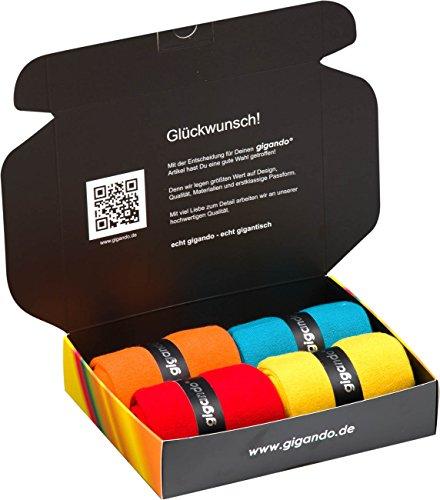 gigando | colorful Baumwoll-Socken | kräftige Farben für Damen und Herren | Hand gekettelt | extra feines Maschenbild | trendige unifarbene Strümpfe | 4 Paar | orange, petrol, rot, gelb | 35-38 | (Aus Rote Baumwolle Socken)