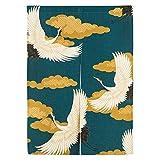 Moumou 33x 47cm Dicke Japanischer Noren Vorhang, Leinen, Baumwolle, mit Vorhang-Dekoration, Textil, 34 - Crane, 33x47 Inch