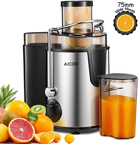 Licuadoras Para Verduras y Frutas Velocidad, AICOK Licuadora Prensado Frio Extractor de Zumos Acero...