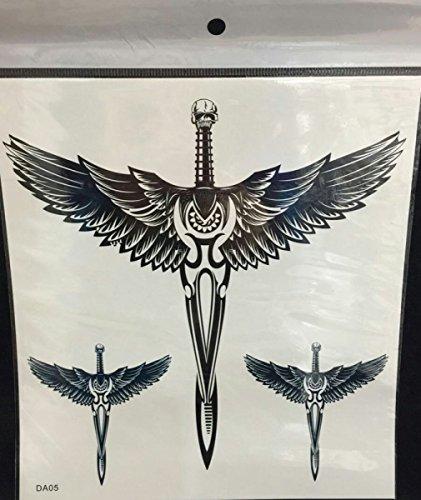 Grandi ali d' angelo e skull cross tattoo stikcers per adulti